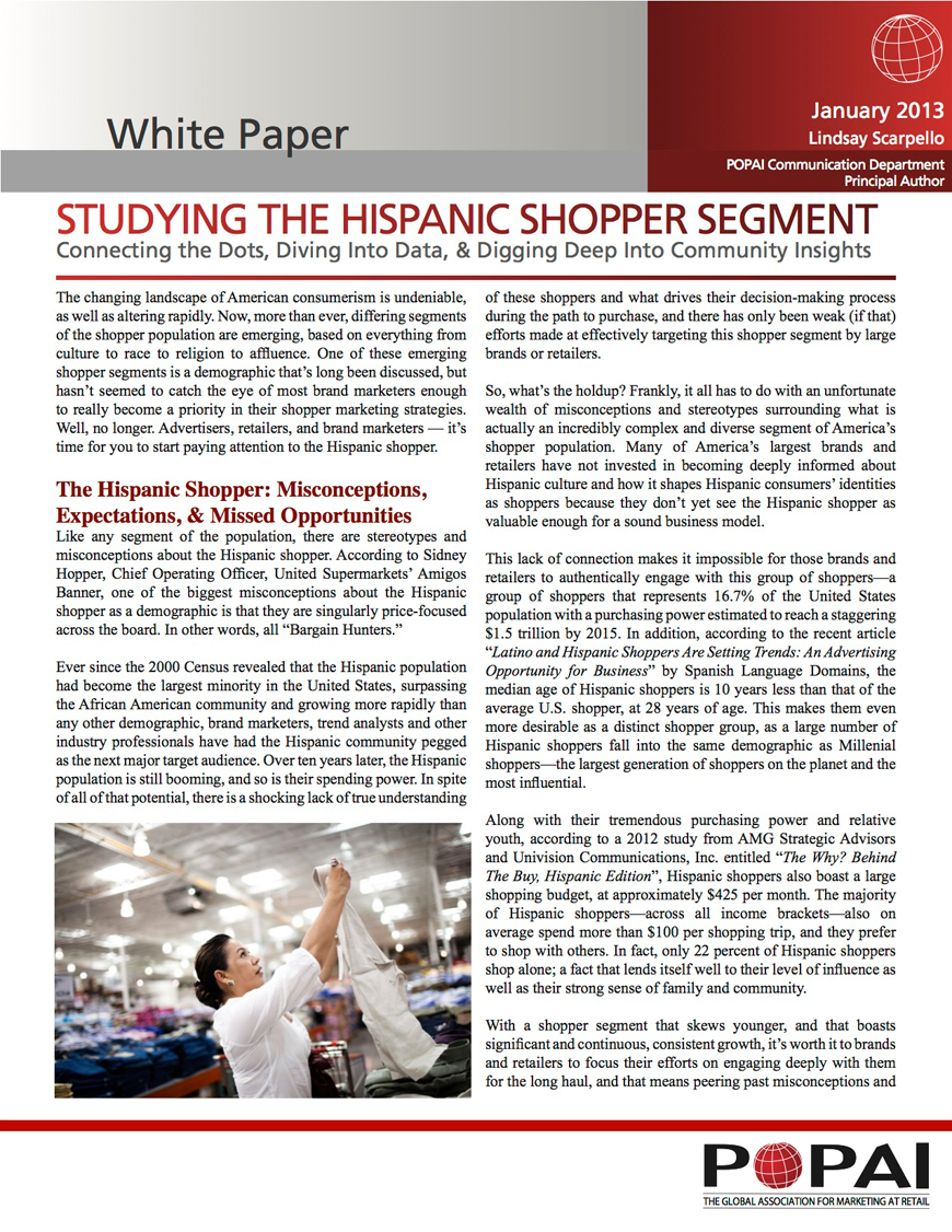 Studying the Hispanic Shopper Segment